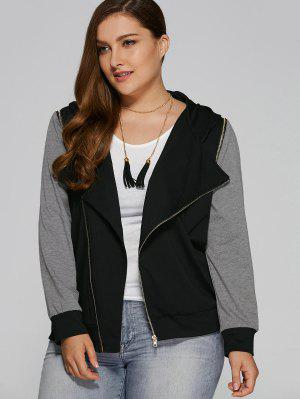 Hooded Zip Pocket Plus Size Jacket - Black And Grey Xl
