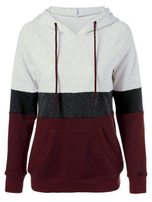 Color Block Drawstring Plus Size Hoodie - 3xl