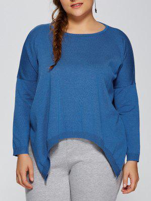 Plus Size Pullover Handkerchief Sweater - Lake Blue 3xl