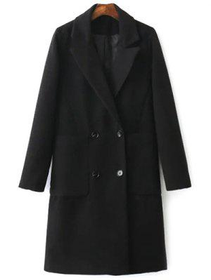 Back Slit Lapel Collar Peacoat - Black M