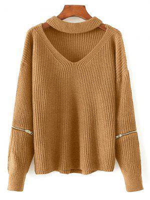 Cut Out Chunky Choker Sweater - Earthy