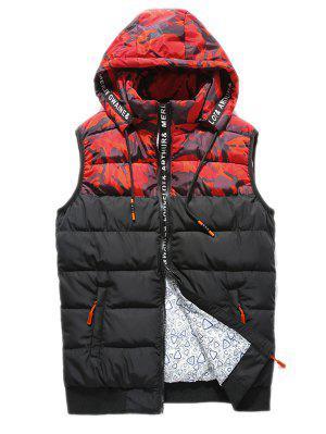 Zip Up Camo Panel Hooded Vest