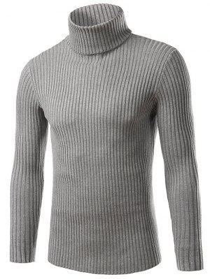 Pull moulant à col roulé ,tricot côtelé