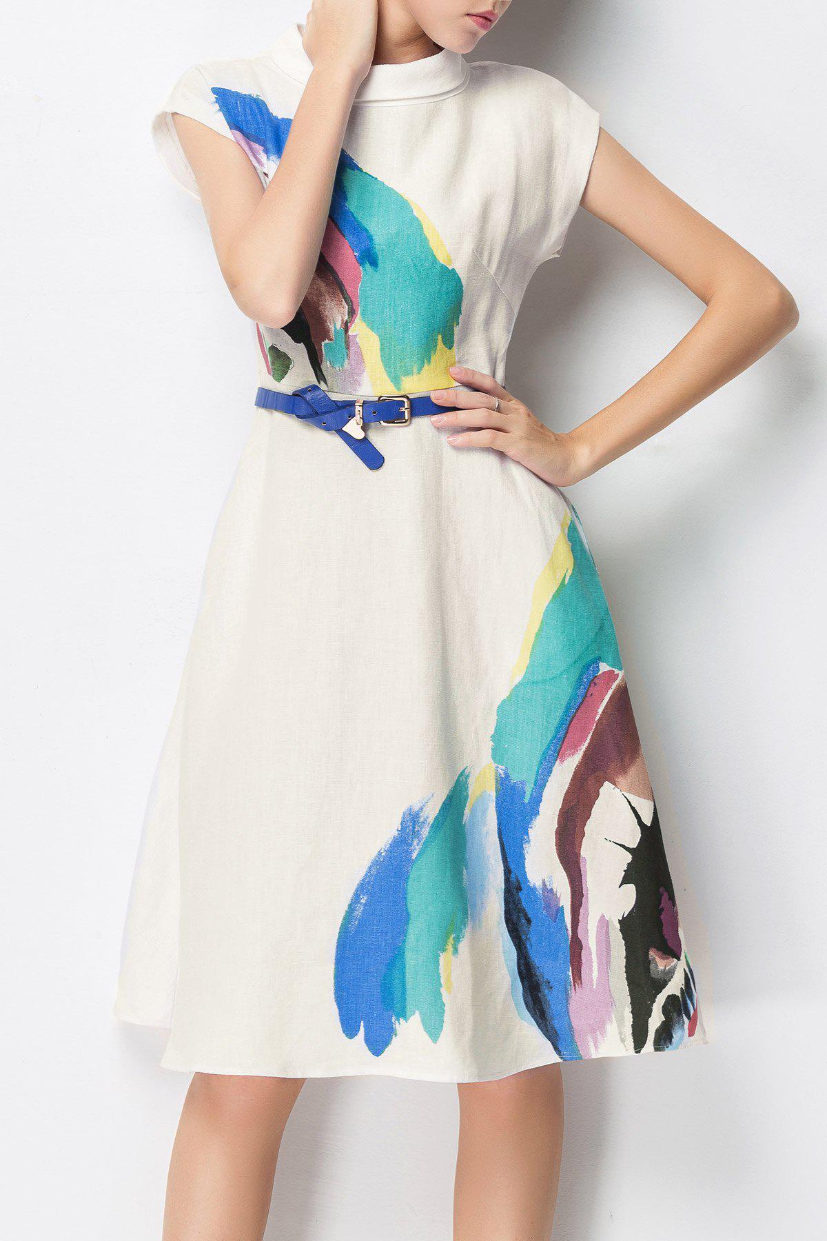Paint Splatter A Line Dress with Belt