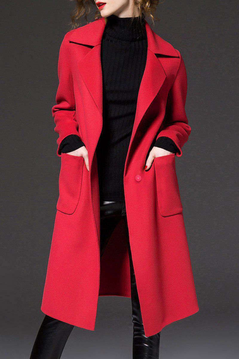 Slit Back Long Coat, Red