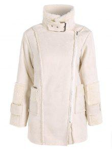 Faux Suede Fleece Lining Zipped Coat - Off-white S