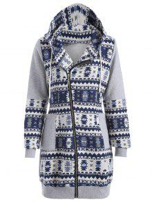 Tribal Pattern Jacquard Longline Hoodie - Gray And Blue M