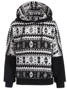 Tribal Jacquard Pullover Batwing Hoodie - White And Black M