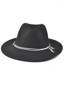 0dd3b8375df 17% OFF  2019 Winter Big Brimmed Drawstring Fedora Hat In BLACK