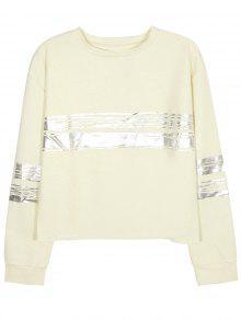 Metallic Stripe Crew Neck Sweatshirt - Beige L