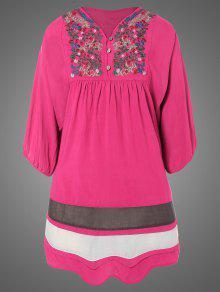 زائد الحجم مطرز بيب تونك اللباس - وردة حمراء