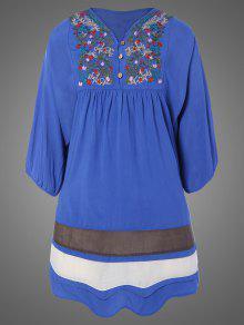 Más El Tamaño De Vestido De La Túnica Bordada Babero - Denim Blue