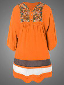 Plus Size Embroidered Bib Tunic Dress - Orange