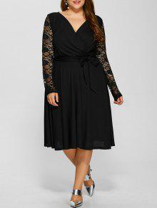 فستان الحجم الكبير دانتيل الأكمام كهنوتي - أسود Xl