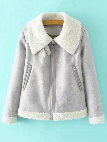 Faux Leather Faux Shearling Jacket - Gray M
