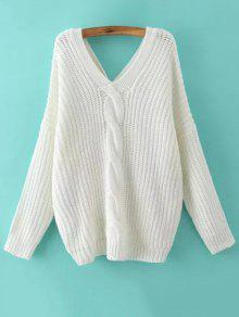 Buy Cable Knit V Neck Sweater Back Buttons - WHITE L