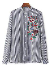 Striped Stand Collar Peacock Embroidered Shirt - Stripe M