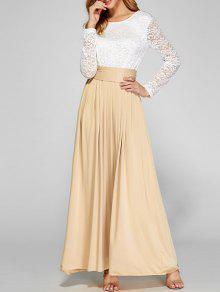 Maxi Vestido Empalme Superior Encaje - Albaricoque M