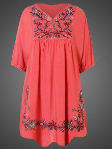 فستان مطرزة زهري تونيك - البطيخ الأحمر