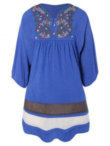 Buy Embroidered Bib Tunic Dress ONE SIZE DENIM BLUE