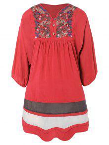 Embroidered Bib Tunic Dress - Watermelon Red