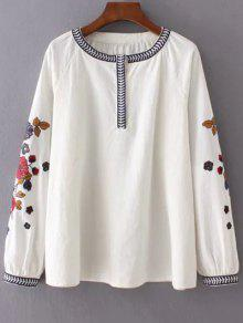 Embroidered Sleeve Blouse - Off-white M