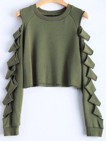 Manga De La Camiseta Rasgada Recortada - Verde Del Ejército M