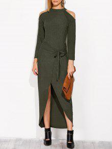 فستان محبوك غير متماثل باردة الكتف جوهرة الرقبة - مسود الخضراء M
