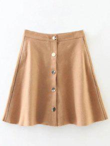 Wool Blend Flounce Mini Skirt - Khaki L