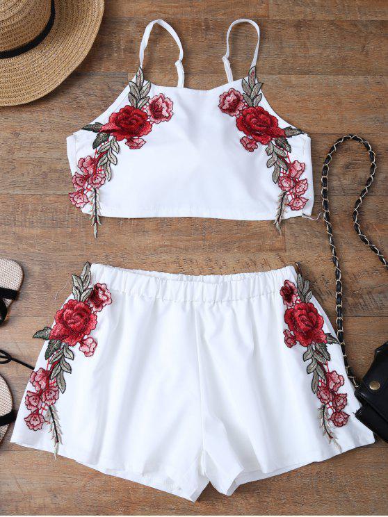 Haut avec nœud papillon et Shorts avec broderie florale - Blanc M