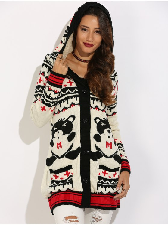 lady Graphic Geometric Knit Graphic Cardigan - WHITE S