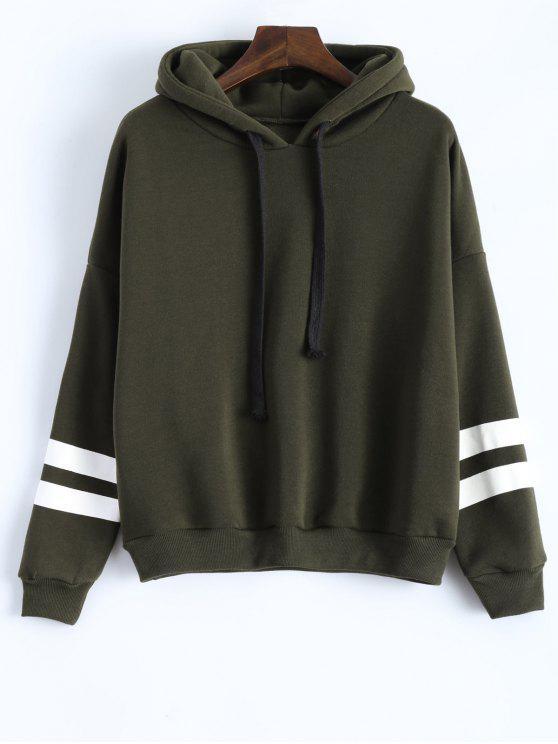 fancy Long Sleeve Striped Oversized Hoodie - HAMPTON GREEN ONE SIZE