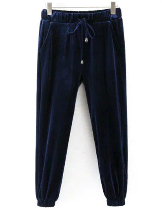 lady Drawstring Velvet Joggers Pants - CADETBLUE S