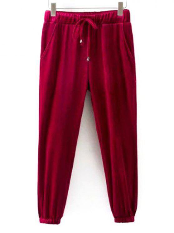 Pantalon de gymnastique en velours à lacet - Rouge L