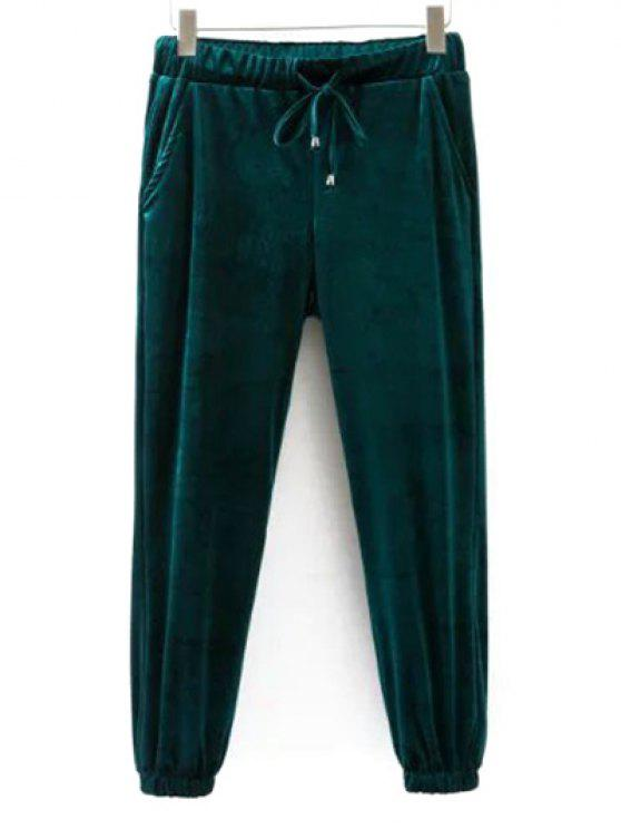 outfit Drawstring Velvet Joggers Pants - GREEN M