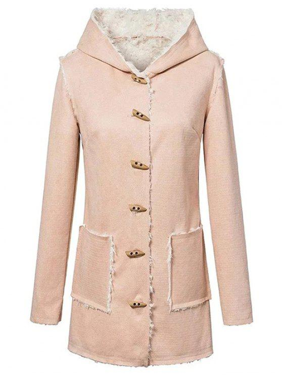 shops Horn Button Fleeced Faux Suede Coat - YELLOWISH PINK S