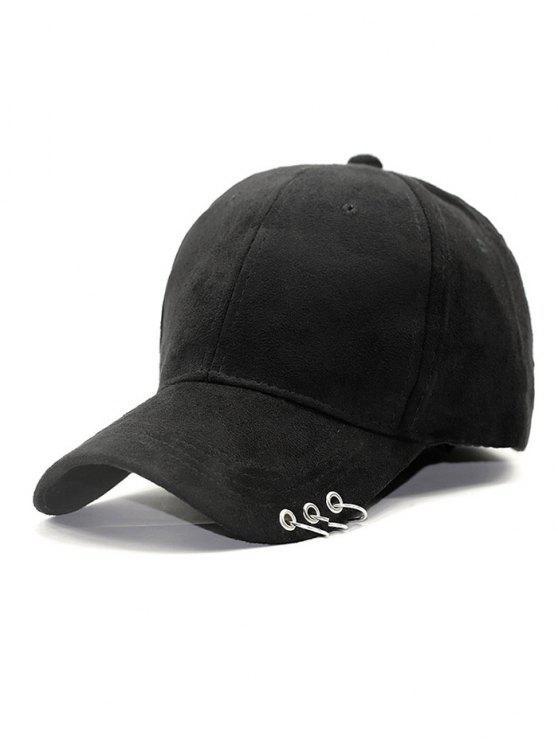 Al aire libre de Hierro Círculo Pleuche sombrero de béisbol - Negro