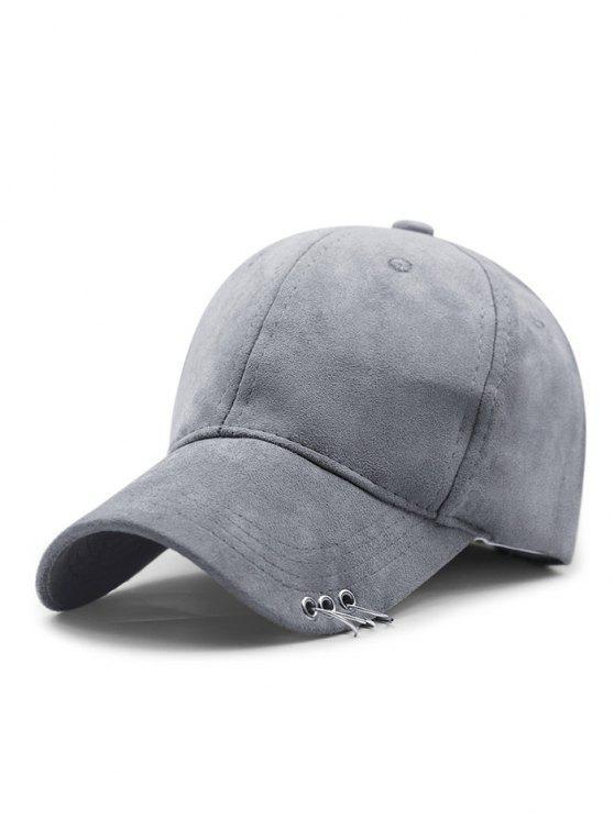 women Outdoor Iron Circle Pleuche Baseball Hat - LIGHT GRAY