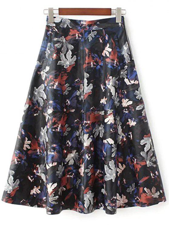 shop Printed PU Leather Skirt - MULTICOLOR L