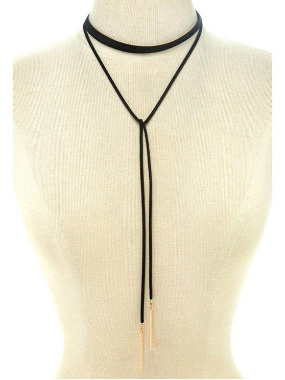 trendy Choker Ribbon Bar Sweater Chain - BLACK