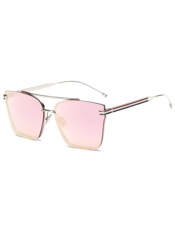 latest Striped Metal Leg Square Mirrored Sunglasses - BABY PINK