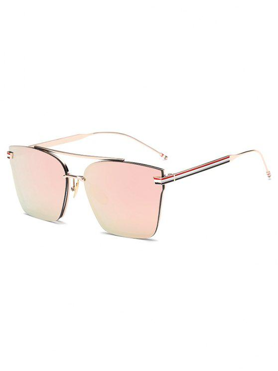 trendy Striped Metal Leg Square Mirrored Sunglasses - PINK