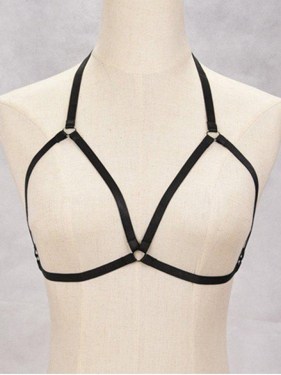 sale Vintage Bra Bondage Harness Body Jewelry - BLACK