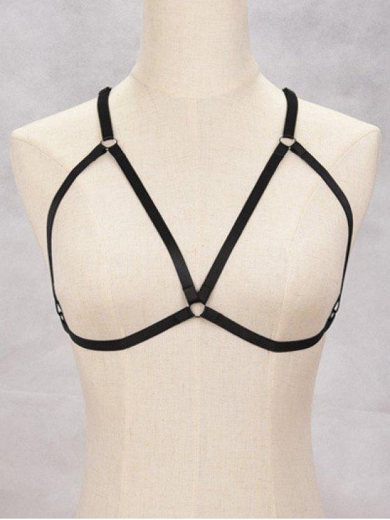 womens Triangle Bra Bondage Harness Body Jewelry - BLACK