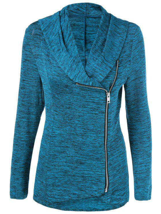 buy Heather Side Zipper Plus Size Jacket - LAKE BLUE 4XL