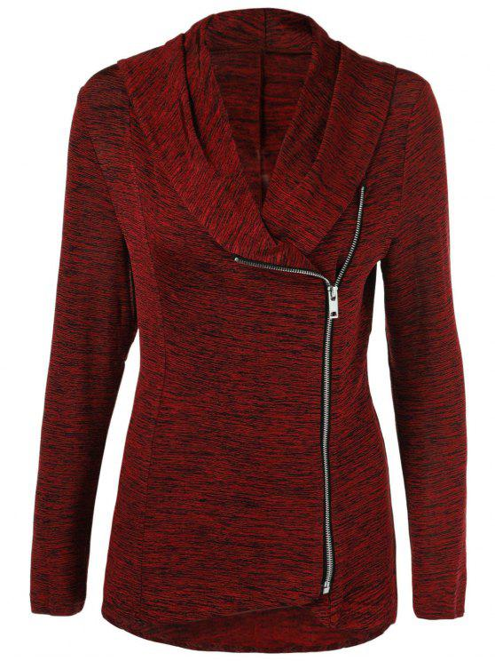 online Heather Side Zipper Plus Size Jacket - BURGUNDY 4XL