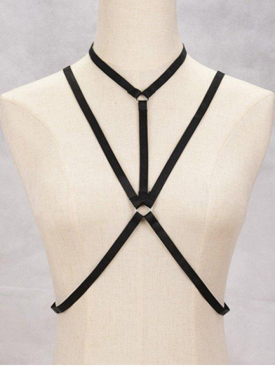 Geometric Bra Bondage Harness Body Jewelry - Preto