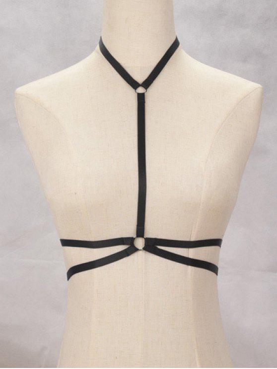 Soutien-gorge noir avec des bijoux et des bandages de protection - Noir