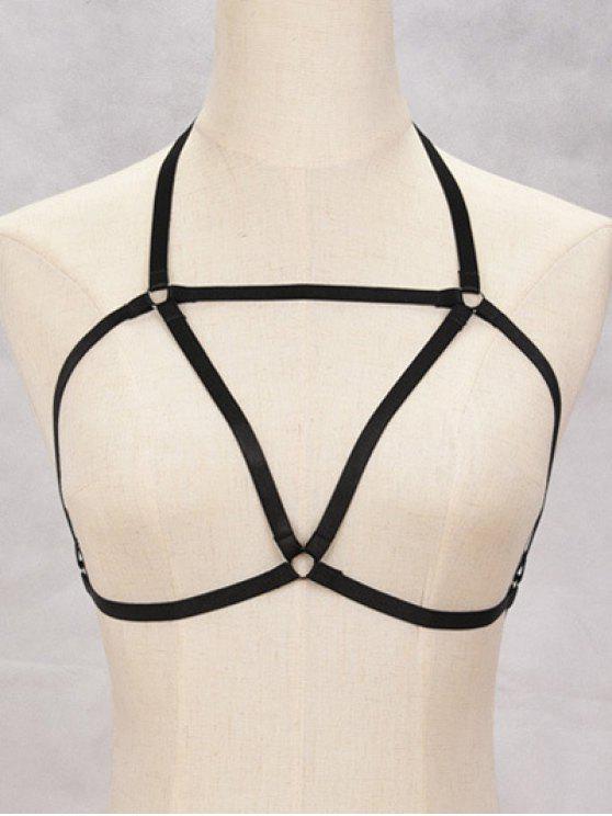 online Bra Bondage Harness Triangle Body Jewelry - BLACK
