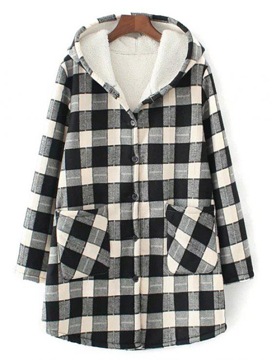 buy Hooded Plus Size Plaid Fleeced Coat - WHITE AND BLACK 2XL